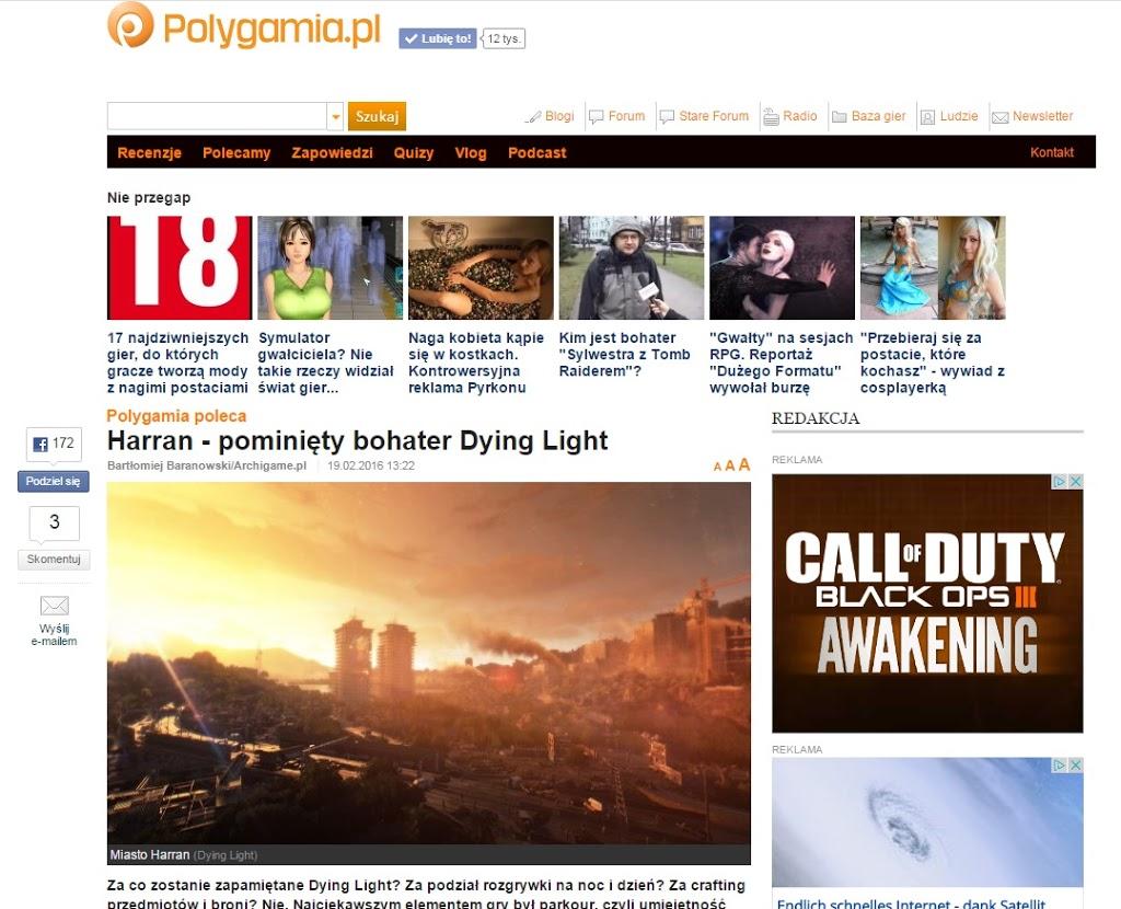 Mój artykuł: Harran – pominięty bohater Dying Light trafił na portal Polygamia!